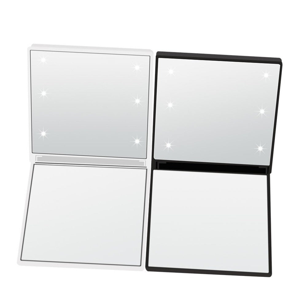 Square Cosmetic Mirror Dual Sided Illuminated Foldable 6 LED Light Makeup Mirror Travel Foldable Durable - ebowsos