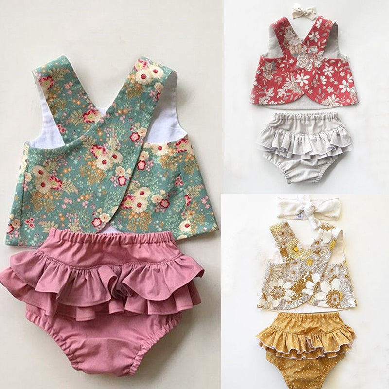 USSTOCK Flower Baby Girls Outfit Clothes Vest Tops T-shirt+Tutu Shorts Pants Set