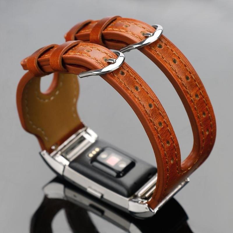 Synthetic Leather Smart Watch Band Watch Strap Leather Double Bracelet Watchbands Replacement for Fitbit Charge 2 - ebowsos