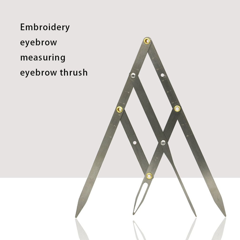Tattoo Golden Ratio Eyebrow Design Positioning Standard Three-point Balance Eyebrow Measuring Ruler Silver - ebowsos