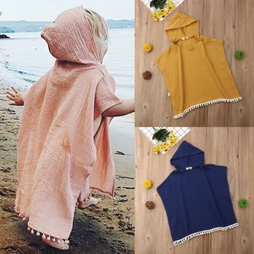 Toddler Kids Baby Girl Long Cape Dress Hooded Tassel Cloak Poncho Jumper  Clothes Cotton and linen cloak