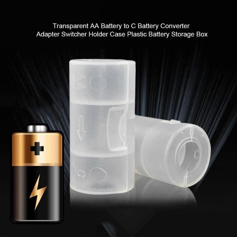 Transparent Plastic Battery Storage Box For AA Battery To C Battery  Converter Adapter Switcher Holder Case