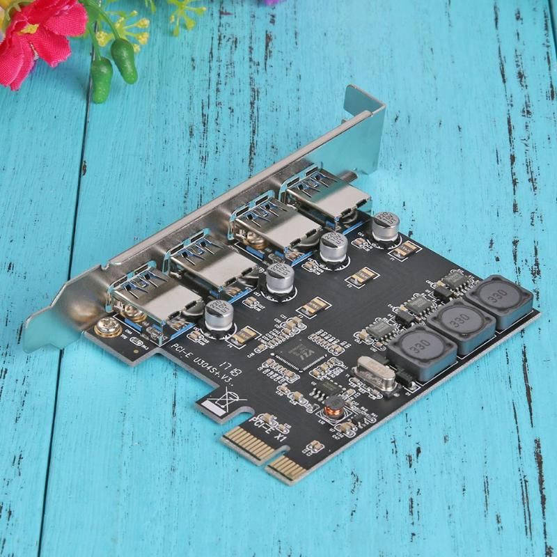 4 Port 5Gbps PCI-E to USB 3.0 PCI Express Controller Expansion Card Adapter#