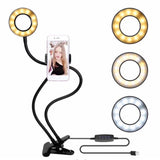 USB Charging Power LED Selfie Ring Filling Light With Mobile Phone Clip Holder Lazy Bracket Desktop Clamp Eye Care Lamp 2018 New - ebowsos