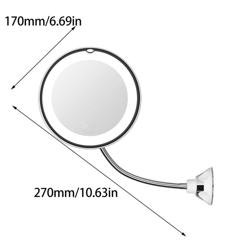White Round Flexible Illuminated Mirror 10 Times Magnification With Bendable Neck Lightweight Portable - ebowsos