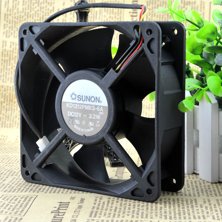 For original SUNON built standard KD1212PMB-6A 12V 6.8W 12038 12CM chassis cooling fan - ebowsos