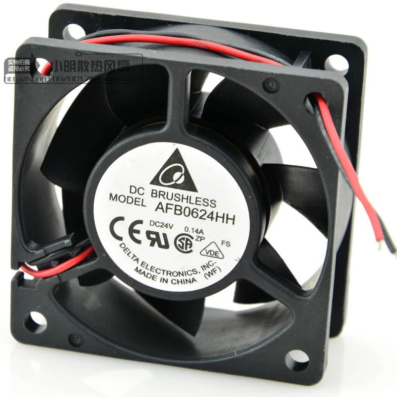For original Delta 6025 AFB0624HH 24V 0.14A 3-wire ball cooling fan 60*60*25MM - ebowsos
