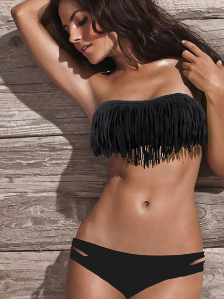 Hot Sale Swimwear Women Padded Fringe Bandeau Bikini Set New Swimsuit Lady Bathing suit-ebowsos