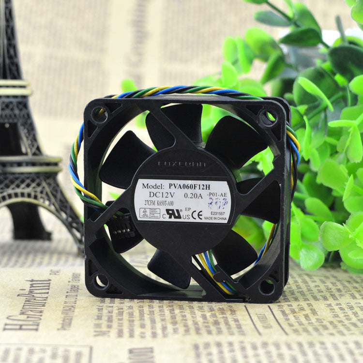 For Foxconn 6020 6CM Hydraulic Phosphorus Copper 12V0.20A Four-wire PWM Speed ??Control Fan PVA060F12H - ebowsos