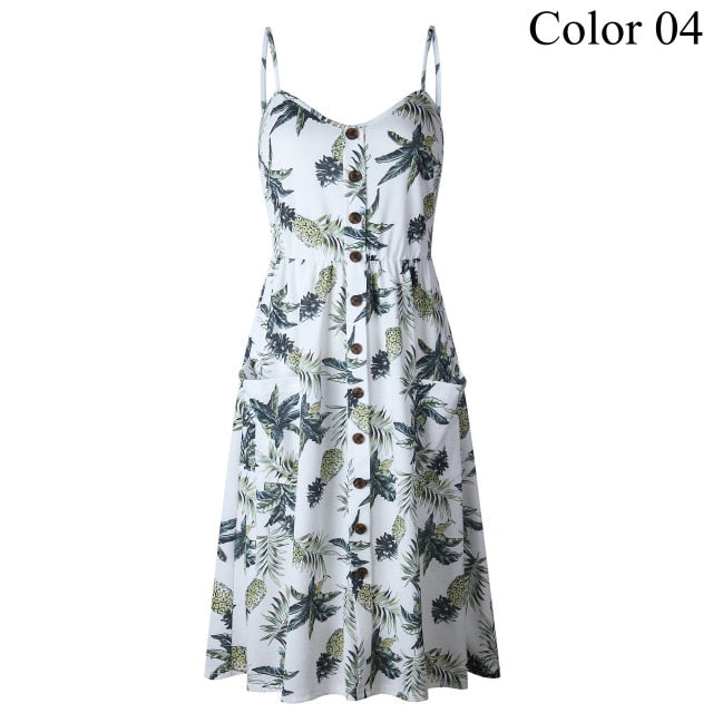 2019 Summer Women Button Decorated Print Dress Off-shoulder Party Beach Sundress Boho Spaghetti Long Dresses Plus Size - ebowsos