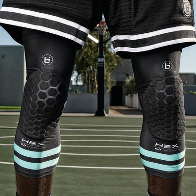 Closeup shot of Ballislife McDavid Hex Leg Sleeves on Basketball Player