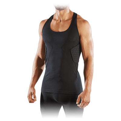 Black ELITE HEX® Tank Shirt/3-Pad on Model - Front Angled Shot