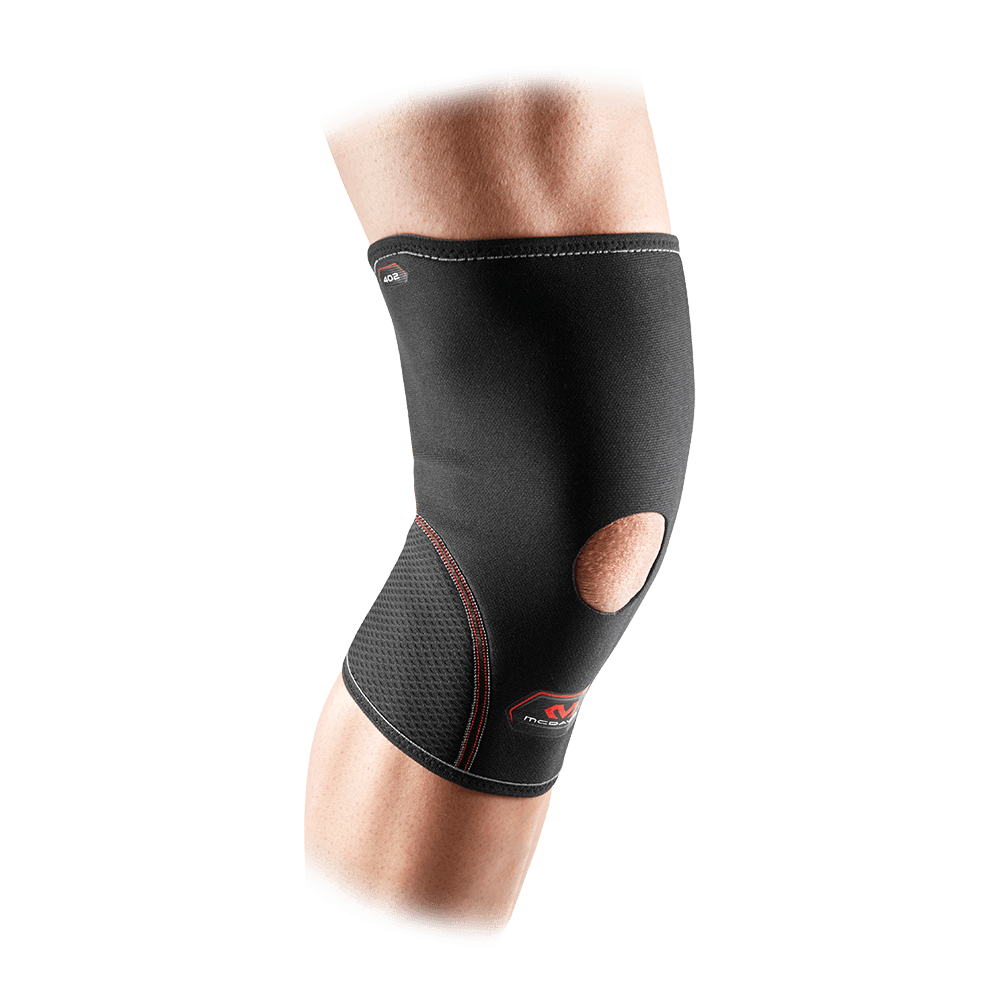 Black Knee Sleeve w/Open Patella - Front Angle View- McDavid