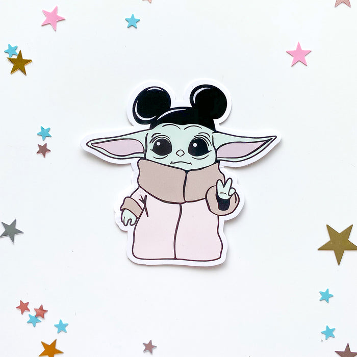 Baby Yoda Peace Sign Sticker