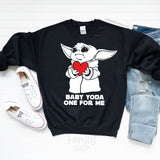 Baby Yoda One For Me Sweatshirt - Disney MatchingShirts, Disney Family Shirts, Disney Couple Shirts from The FMLY shop