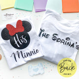 Her Mickey His Minnie, Red Glittery Bow, Disney Couple Shirts