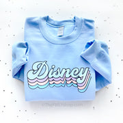 Disney Retro Font Sweatshirt Winter Colors, Blue Disney Crewneck
