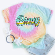 Disney Retro Tie Dye Shirt Pastel Colors
