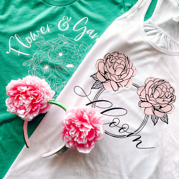 Bloom Minnie Mouse Peonies Ears Tank Top, Epcot Flower & Garden 2021 Top, Spring Minnie Top