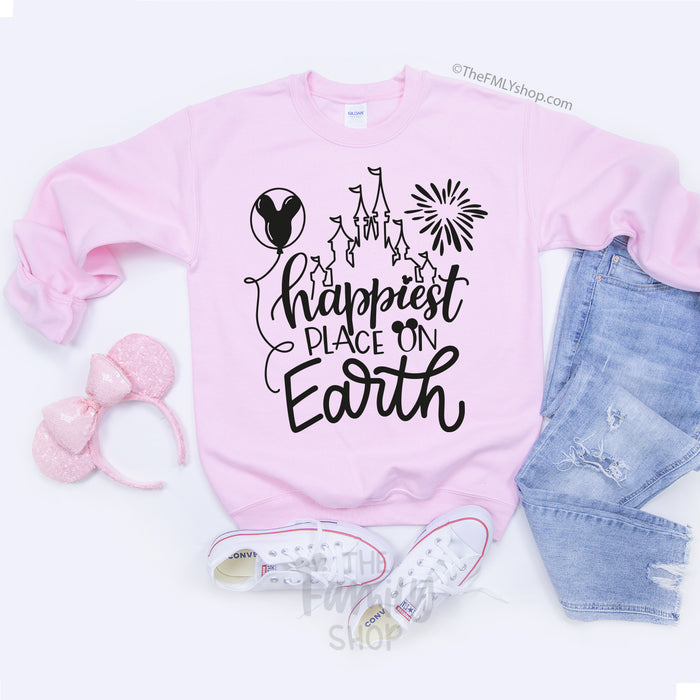 Happiest Place On Earth / Disney Sweatshirt - Disney MatchingShirts, Disney Family Shirts, Disney Couple Shirts from The FMLY shop