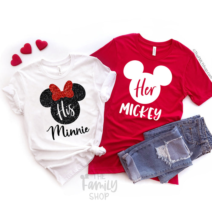Her Mickey - His Minnie / Valentine's Day Disney Couple Shirts - Disney MatchingShirts, Disney Family Shirts, Disney Couple Shirts from The FMLY shop