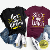 He's My Wizard She's My Witch, Harry Potter Couple Shirts, Wizarding World Couple Shirts