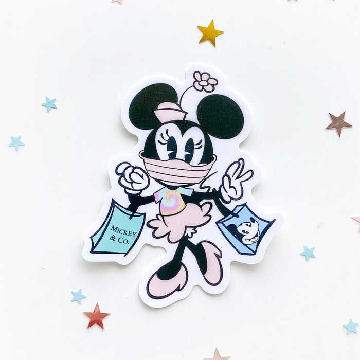 Minnie Mouse in Face Mask On Shopping Sticker