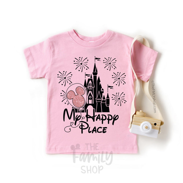 My Happy Place Disney Castle Shirt With Mickey Balloon / Kids Size - Disney MatchingShirts, Disney Family Shirts, Disney Couple Shirts from The FMLY shop
