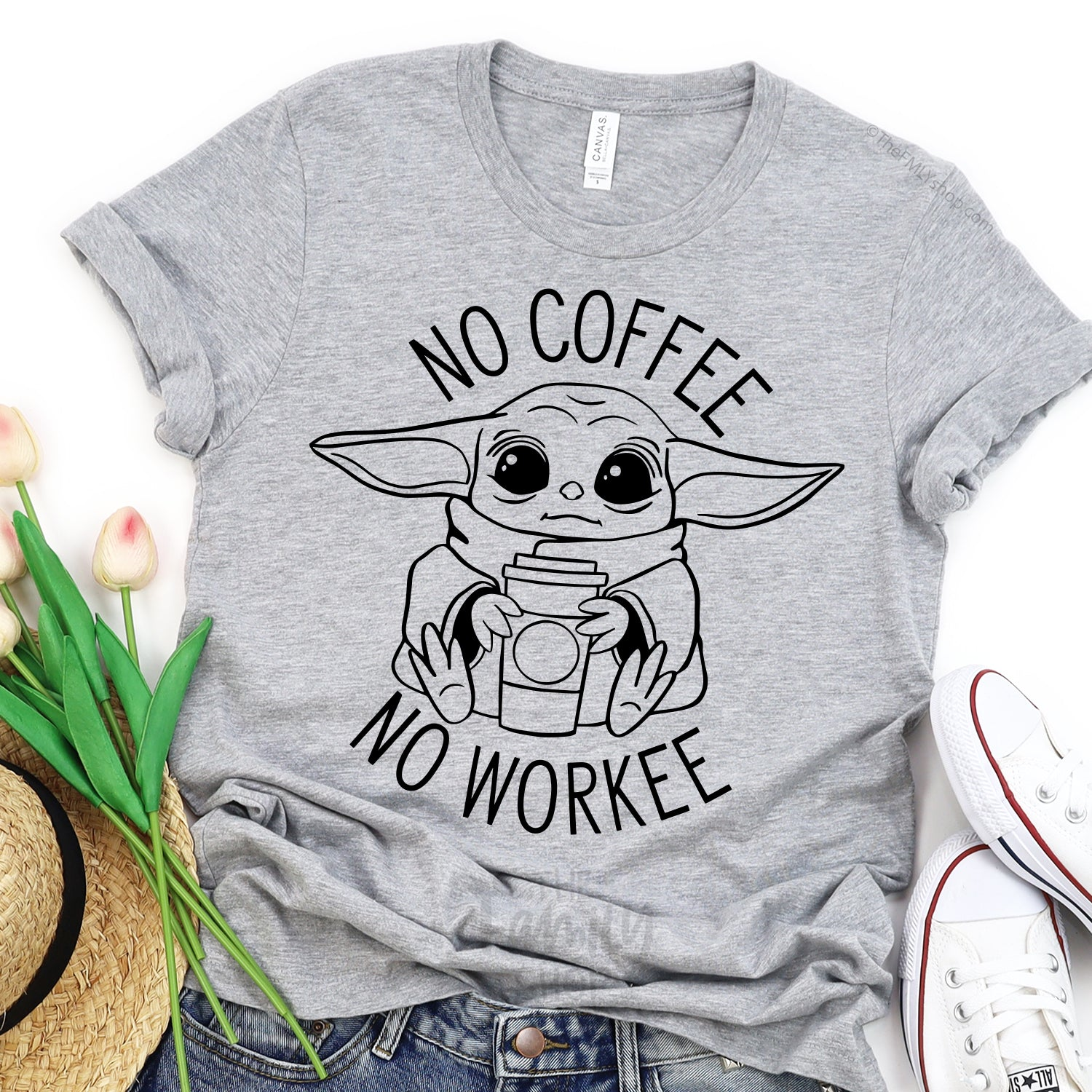 No Coffee No Workee Baby Yoda T-shirt