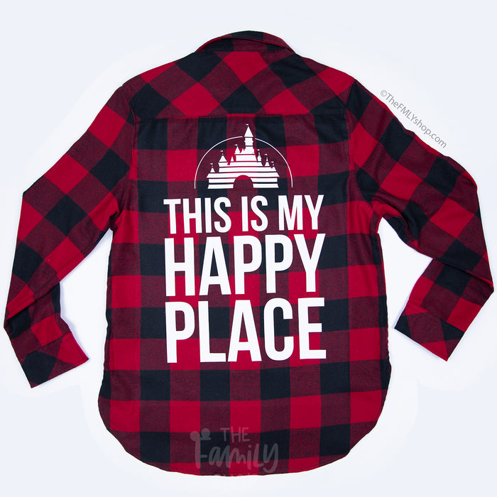 This Is My Happy Place / Flannel Plaid Shirt - Disney MatchingShirts, Disney Family Shirts, Disney Couple Shirts from The FMLY shop