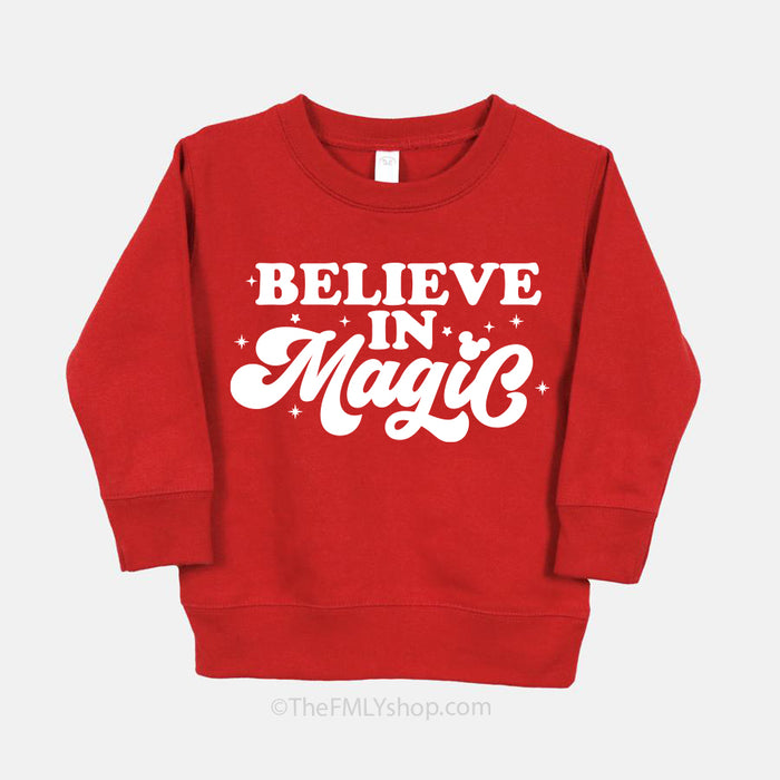 Believe in Magic Disney Sweatshirt, Kids Size, Last Sizer 2T, 3T, 4T