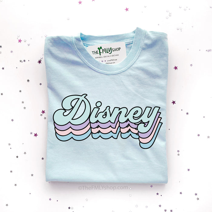 Disney Retro Font T-shirt, Disney Winter Colors Shirt, Disney Blue Retro Shirt
