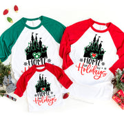 Home For The Holidays Disney Christmas Raglan, Disney Christmas Matching Shirt, Disney Holiday Shirts