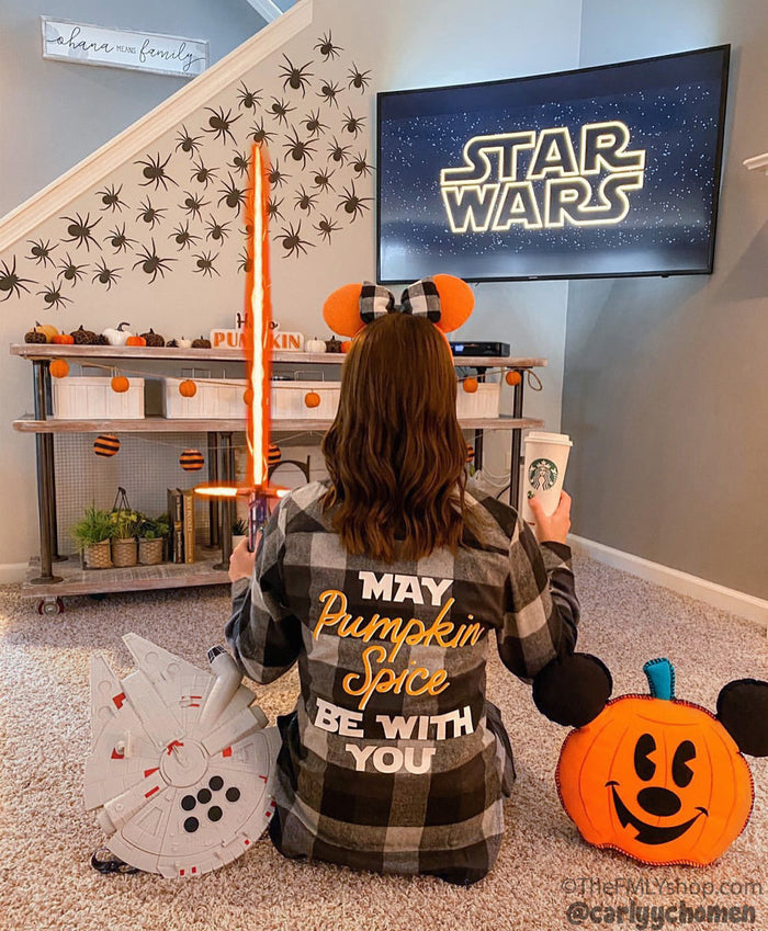 May Pumpkin Spice Be With You, Flannel Shirt, Disney Flannel Shirt