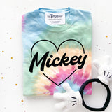 Mickey in heart Tie Dye Shirt Pastel Colors, Valentinve's Day Mickey Shirt