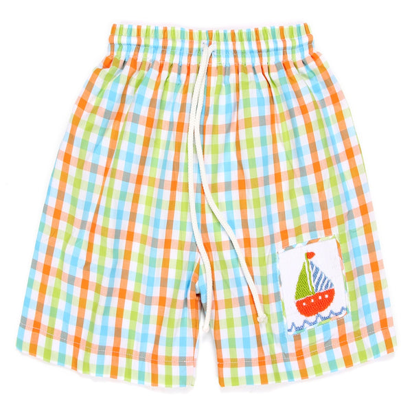 586ae67ccb Colorful Sailing Boat Smocked Swim Trunk - Marry Le