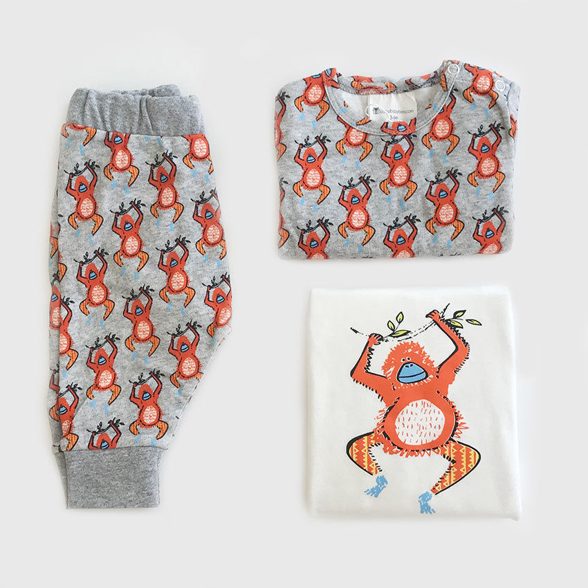 Organic Baby Clothes Set Monkey Print With T Shirt Pant Romper