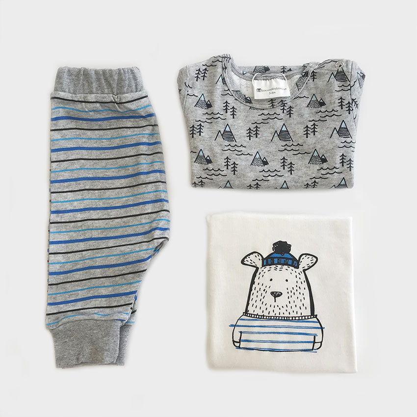 Organic Baby Clothes Set Bear Print With T Shirt Pant Romper