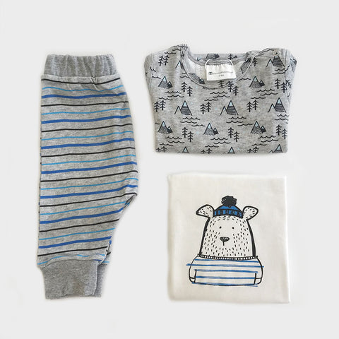Buy Organic Baby Clothes 3 Piece Set Online | Bear Printed - CocoBabyBox