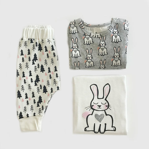 Order Organic Baby Clothes 3 Piece Set Online | Bunny Print | Romper