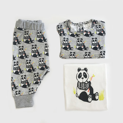 Organic Baby Clothes 3 Piece Set | Panda Print | Dress | Tshirt | Leggings
