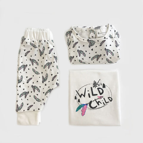 Organic Baby Clothes 3 Piece Set | Wild Child Feather Print | Dress | Tshirt | Leggings