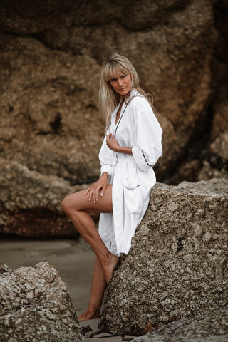 Ava Classic Robes - Available in White/Black & Black/White