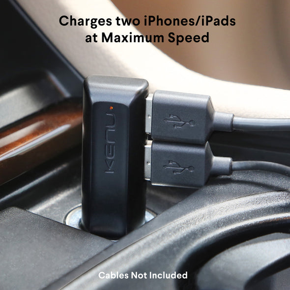 Dualtrip | Dual USB Car Charger | 4.8A 24W With ULTRA-FAST Technology