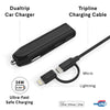 Kenu Travel Kit | Dualtrip Car Charger + Tripline USB Cable + Microfiber Travel Pouch