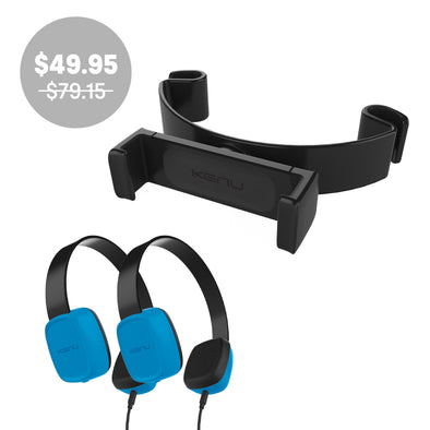 Backseat Value Combo | Tablet Mount and 2 Kids Headphones
