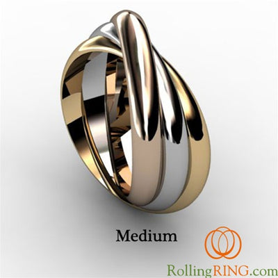 14K Solid Gold Tricolor Rolling Ring. IN STOCK! FREE SHIPPING!