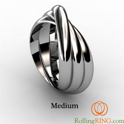 14K Solid White Gold 3 Band Rolling Ring. IN STOCK! FREE SHIPPING!