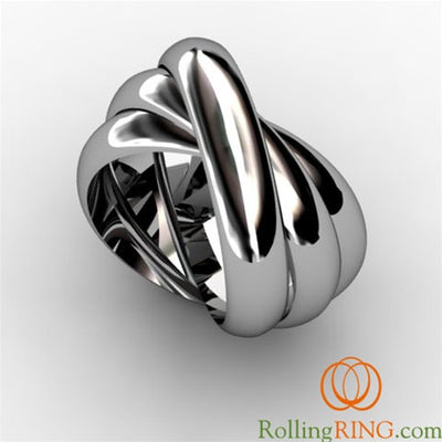14K Solid WHITE Gold THICK Rolling Ring. IN STOCK! FREE SHIPPING!