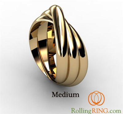 14K Solid Yellow Gold Rolling Ring. IN STOCK! FREE SHIPPING!